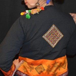 Noor Handcrafted black orange jacket