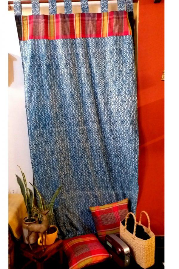 Indigo Dabu Print Curtain