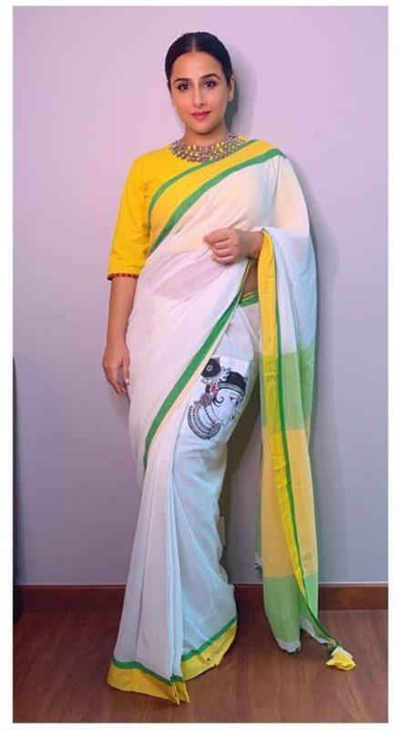 Vidya Balan - Nandi Dimps Pocket Saree White